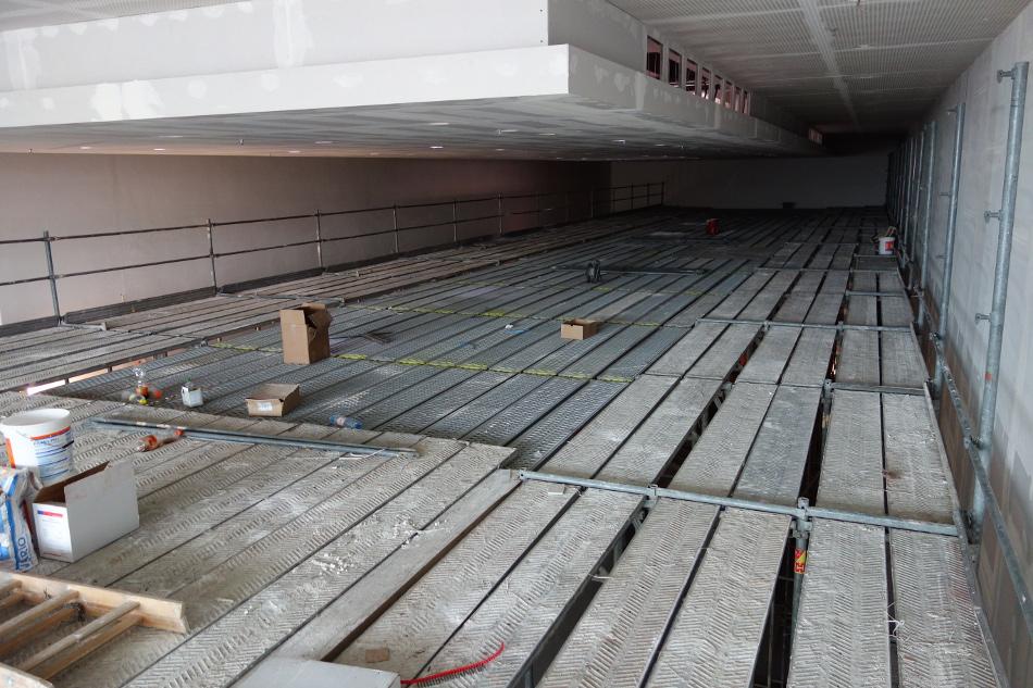 Raumgerüst  im Neubau Nahversorgungszentrum am Straßburger Platz